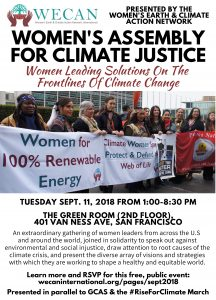 Join us 9/11 for the Women's Assembly for Climate Justice