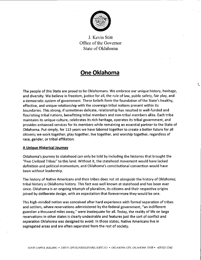 You are currently viewing ONE OKLAHOMA: Governor Stitt's leaked memo to Congress